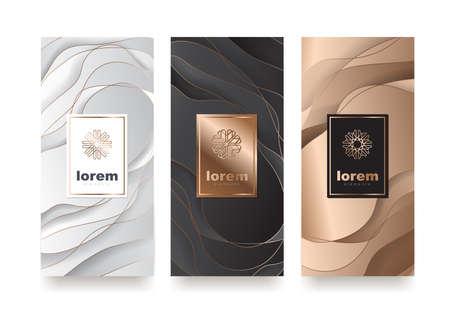 Wektor zestaw szablonów opakowań o różnej teksturze dla produktów luksusowych. Projekt logo w modnym stylu liniowym. Ilustracja wektorowa Logo