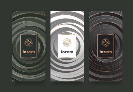 Vector Set Verpackung Vorlagen mit verschiedenen Textur für Luxus products.logo Design mit trendigen linearen style.vector Illustration Standard-Bild - 89984250