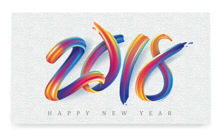 2018  New Year calligraphy with colorful brushstroke oil or acrylic paint design element for greeting card, flyers, leaflets, postcards and posters. Vector illustration. Vettoriali