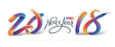 2018  New Year calligraphy with colorful brushstroke oil or acrylic paint design element for greeting card, flyers, leaflets, postcards and posters. Vector illustration. Stock Illustratie