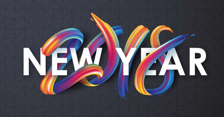 2018  New Year calligraphy with colorful brushstroke oil or acrylic paint design element for greeting card, flyers, leaflets, postcards and posters. Vector illustration. Ilustracja