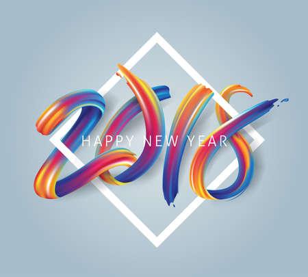 Nieuwjaarskalligrafie 2018 met kleurrijk penseelstreekolie of acrylverfontwerpelement voor wenskaarten, flyers, folders, ansichtkaarten en posters. Vector illustratie Stock Illustratie