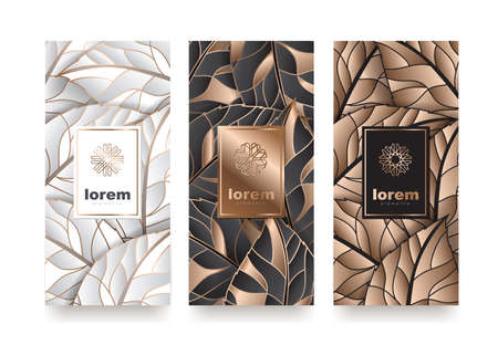 Vector set packaging templates with different texture for luxury products. logo design with trendy linear style vector illustration Zdjęcie Seryjne - 90735810