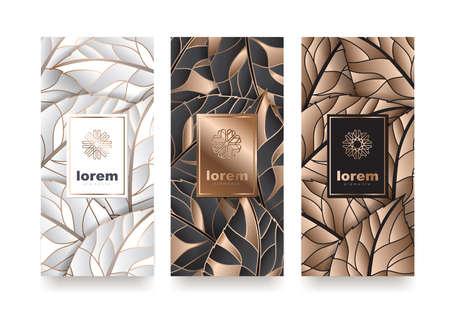Vector set plantillas de embalaje con diferente textura para productos de lujo. diseño de logotipo con la ilustración de vector de estilo lineal de moda Logos