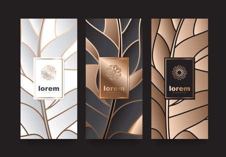Vector set packaging templates with different texture for luxury products. logo design with trendy linear style vector illustration Standard-Bild - 90735948