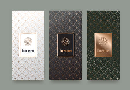 Vector set packaging templates with different texture for luxury products design with trendy linear style.vector illustration Illustration