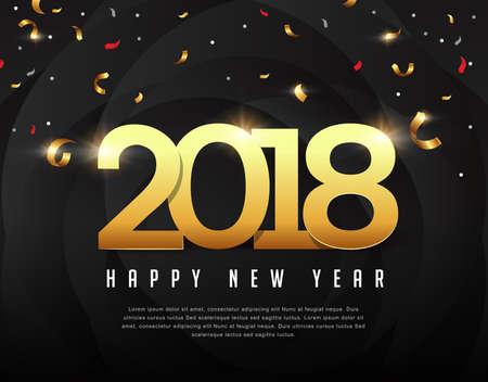 Nieuwjaarsontwerp 2018 met papieren kunst voor wenskaarten, flyers, folders, postkaarten en posters. Vector illustratie Stock Illustratie