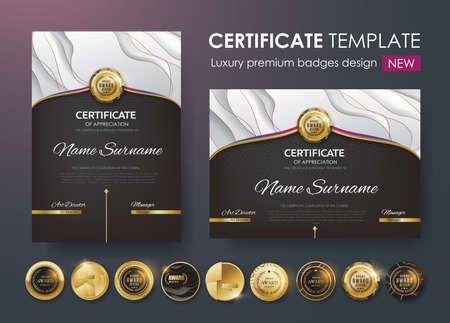 Zertifikatvorlage mit Luxus-Muster, Diplom, Vektor-Illustration und Vektor Luxus-Premium-Abzeichen Design, Set retro Vintage Abzeichen und Etiketten. Standard-Bild - 91002950