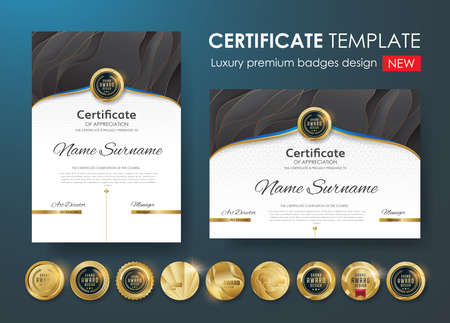 Certificate template with luxury pattern,diploma,Vector illustration and vector Luxury premium badges design,Set of retro vintage badges and labels. Standard-Bild - 91002970