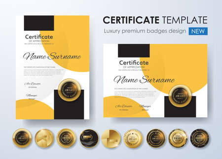 Certificate template with luxury pattern,diploma,Vector illustration and vector Luxury premium badges design,Set of retro vintage badges and labels. Standard-Bild - 91003009