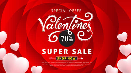 Valentines day sale background with Heart Shaped Balloons and flower. Illustration