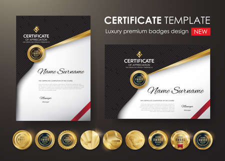 Certificate template with luxury pattern,diploma, Vector illustration and vector Luxury premium badges design,Set of retro vintage badges and labels.