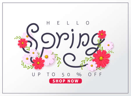Spring sale background layout with beautiful colorful flower for banners,Wallpaper,flyers, invitation, posters, brochure, voucher discount.Vector illustration template.