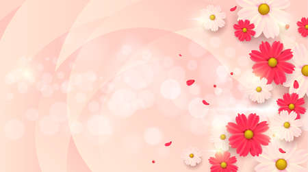 Spring background layout with beautiful colorful flowers Stock Illustratie