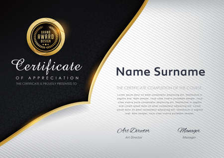 certificate template with luxury pattern vector illustration.