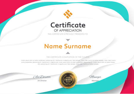 certificate template with modern pattern vector illustration.