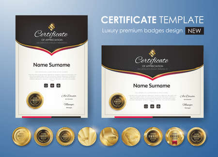 Certificate template with luxury pattern, diploma. Vector illustration and vector Luxury premium badges design. Set of retro vintage badges and labels.