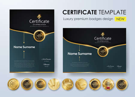 Certificate template with luxury pattern, diploma. Vector illustration and vector Luxury premium badges design. Set of retro vintage badges and labels. Standard-Bild - 97552461