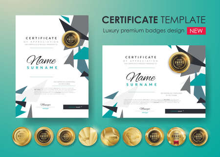 Certificate template with modern pattern, diploma. Vector illustration and vector Luxury premium badges design. Set of retro vintage badges and labels.