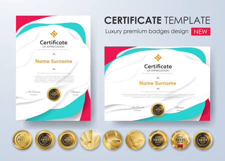 Certificate template with modern pattern, diploma, Vector illustration and vector Luxury premium badges design,Set of retro vintage badges and labels. Иллюстрация