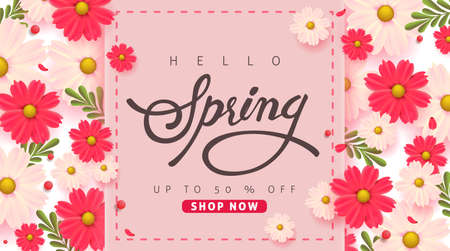 Spring sale background layout with beautiful colorful flower. Vector illustration template.