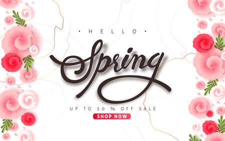 Diseño de fondo de venta de primavera con hermosas flores de colores para pancartas.