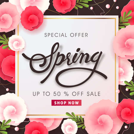 Spring sale background layout with beautiful colorful flower for banners.
