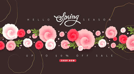 Spring sale background layout with beautiful colorful flower template.