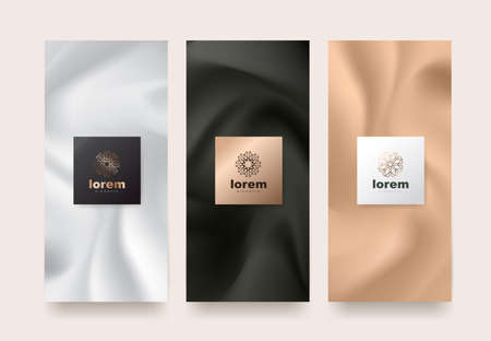 Vector set packaging templates with different texture for luxury products. Illustration