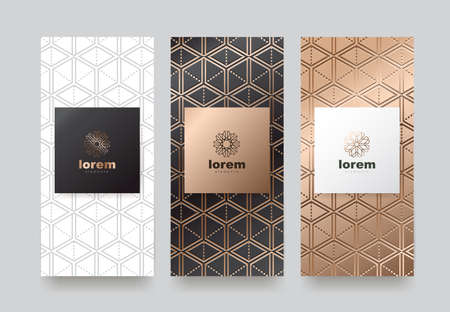Vector set packaging templates with different texture for luxury products.logo design with trendy linear style. Standard-Bild - 98267074