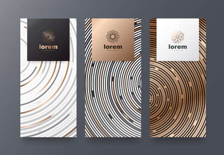 Set packaging vector templates with different texture for luxury products. Design with trendy linear style vector illustration. Standard-Bild - 98217658