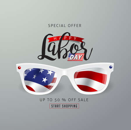 Labor day sale promotion advertising banner template decor with American flag.Vector illustration .