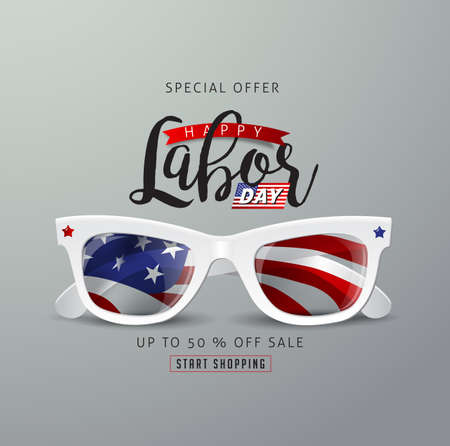 Labor day sale promotion advertising banner template with sunglasses Vector Illustration