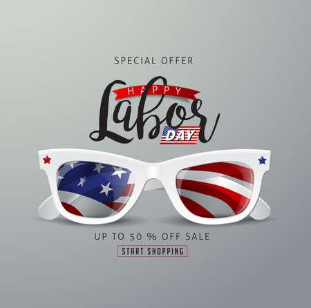 Plantilla de banner publicitario de promoción de venta del día del trabajo con gafas de sol Foto de archivo - 98778333