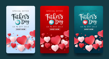 Fathers day sale background poster banner. Vector illustration.