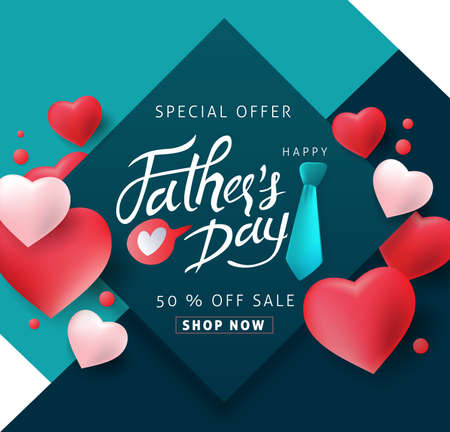 Happy Father's Day Calligraphy greeting card background. Vector illustration.