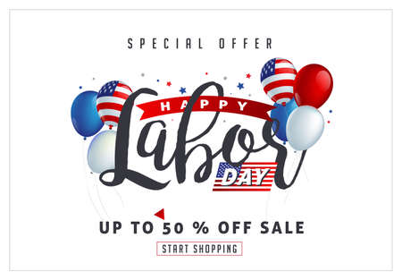 Labor day sale promotion advertising banner template decor with American flag balloons design .American labor day wallpaper.voucher discount.Vector illustration .  イラスト・ベクター素材
