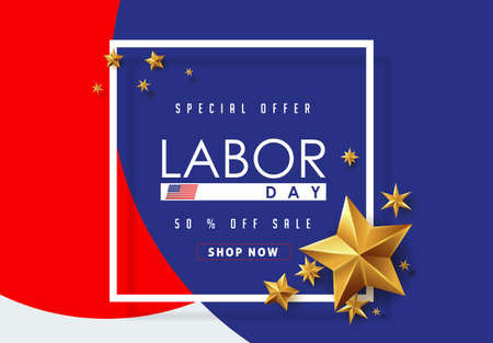 Labor day sale promotion advertising banner template decor with golden stars.American labor day wallpaper.voucher discount.Vector illustration .  イラスト・ベクター素材
