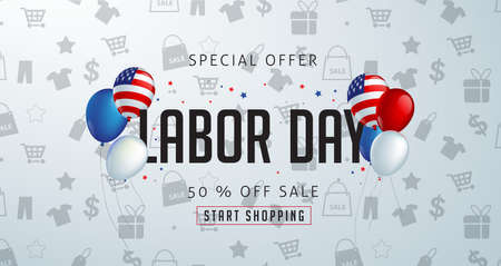 Labor day sale banner template with balloons