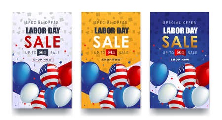 Labor day sale promotion advertising banner template decor with American flag balloons design. American labor day wallpaper. Voucher discount vector illustration.