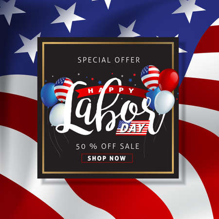 Labor day sale promotion advertising banner template decor with American flag. American labor day wallpaper. Voucher discount vector illustration.