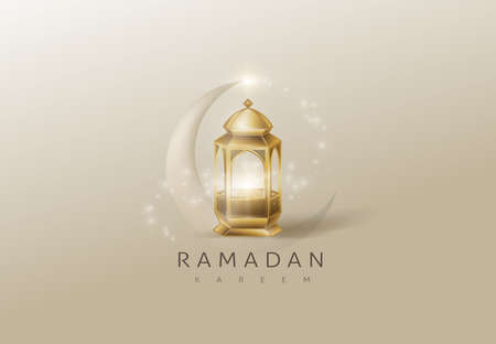 Ramadan Kareem premium glowing gold arabic lamp design card background . Vector illustration.