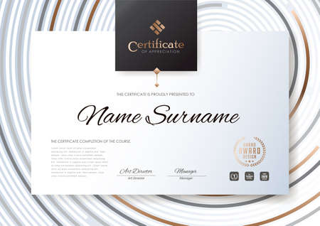 Certificate template with luxury pattern design illustration.