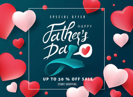 Happy Father's Day Calligraphy greeting card and sale poster background. Vector illustration.