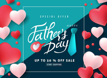 Happy Father�s Day Calligraphy greeting card and sale poster background. Vector illustration. Фото со стока - 102169876