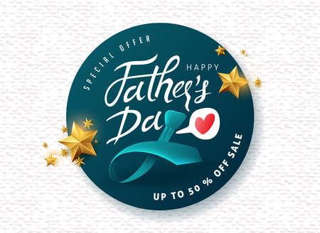 Happy Father's Day Calligraphy greeting card and sale poster background. Vector illustration. Фото со стока - 102195846