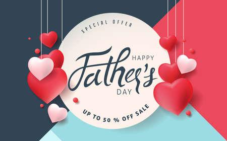 Feliz día del padre tarjeta de felicitación de caligrafía y fondo de cartel de venta. Ilustración de vector.