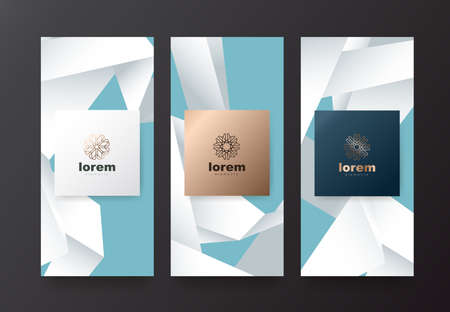 Vector set packaging templates with origami texture for luxury products.design with trendy linear style.vector illustration Standard-Bild - 102399614