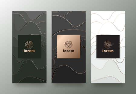 Vector conjunto de plantillas de embalaje con textura abstracta para productos de lujo.Diseño con estilo lineal moderno.Ilustración de vector