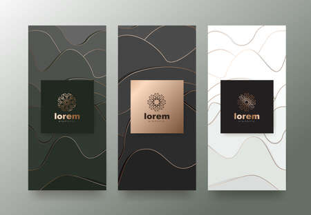 Vector set packaging templates with abstract texture for luxury products.design with trendy linear style.vector illustration Ilustrace